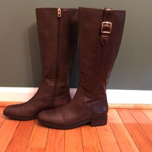 Tall brown boots w/ buckle on sides